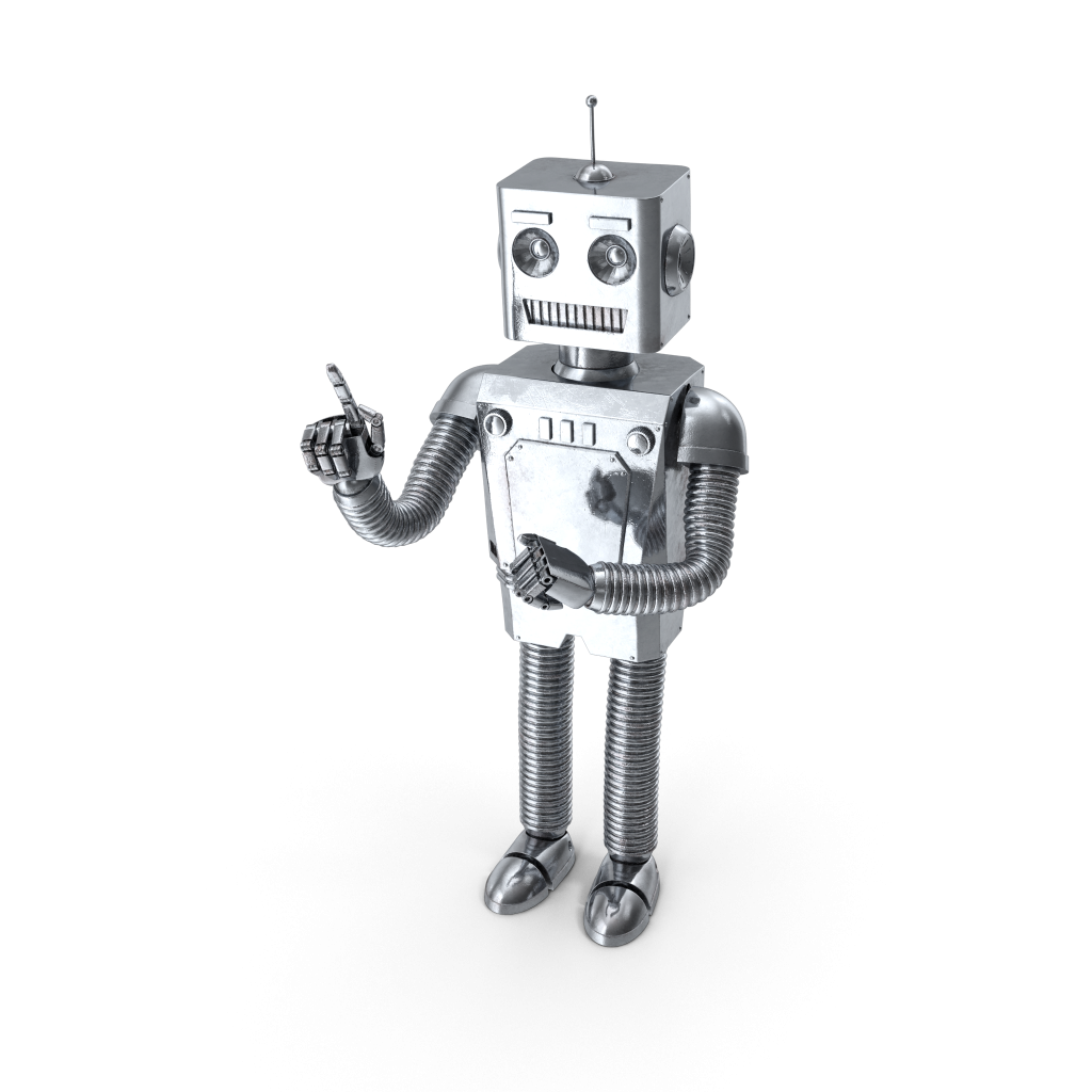 Robot with his finger in the air